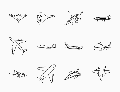 Set of Various Aircraft