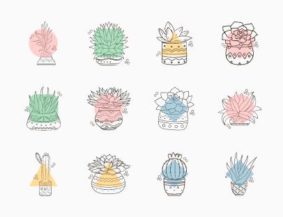 Hand Drawn Plant Pots
