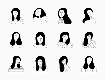 Set of Women Silhouette