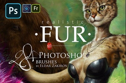 Realistic FUR: 28 Brushes for Adobe Photoshop