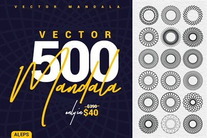 collection 500 Mandala Vector