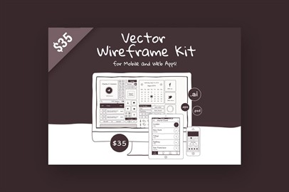 Vector Wireframe Kit For Mobile And Web Apps!