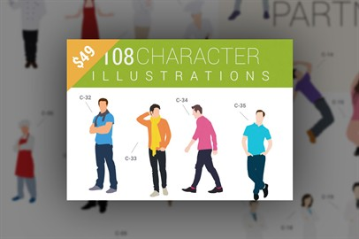 108 Character Illustrations Available In 2 Formats ai and svg