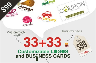 33 Customizable Logos and Business Cards only for $99