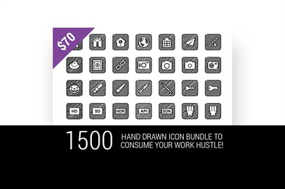 1500 Hand Drawn Icon Bundle To Consume Your Work Hustle!
