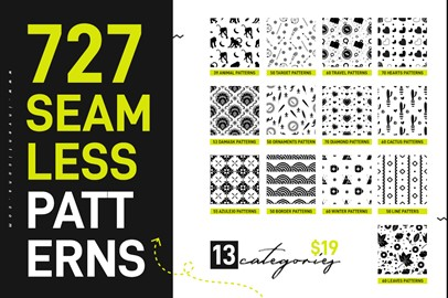 Bundle of 727 Diverse Seamless Patterns