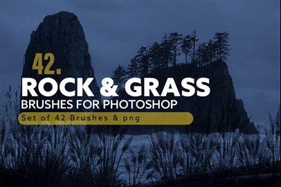 42 Rock and Grass Photoshop Brushes