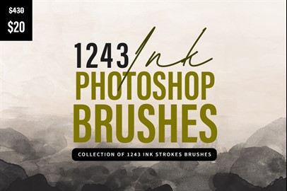1243 Ink Stroke Brushes for Photoshop
