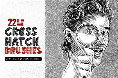 Set of 22 Crosshatch Brushes for Photoshop