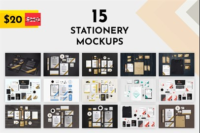 Bundle of 15 Branding Stationery Mockups