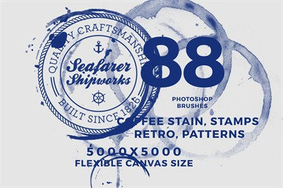 Pack of 88 Photoshop Brushes - Coffee Stain, Stamps, Retro, Patterns