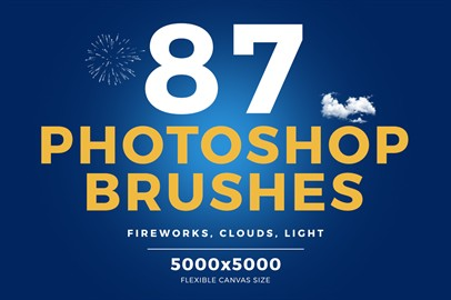 87 Photoshop Brushes - Fireworks, Clouds, Light