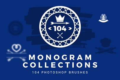 Monogram Collection - 104 Photoshop Brushes