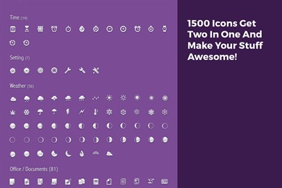 1500 Icons Get Two In One And Make Your Stuff Awesome! Price: $70